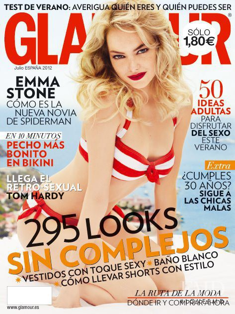 Emma Stone featured on the Glamour Spain cover from July 2012