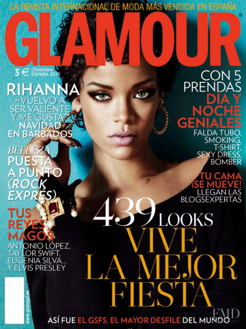 Rihanna featured on the Glamour Spain cover from December 2013