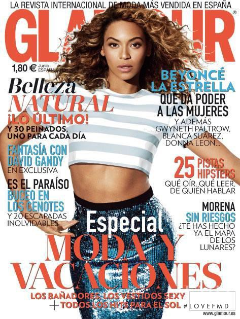 Beyoncé Knowles featured on the Glamour Spain cover from June 2013