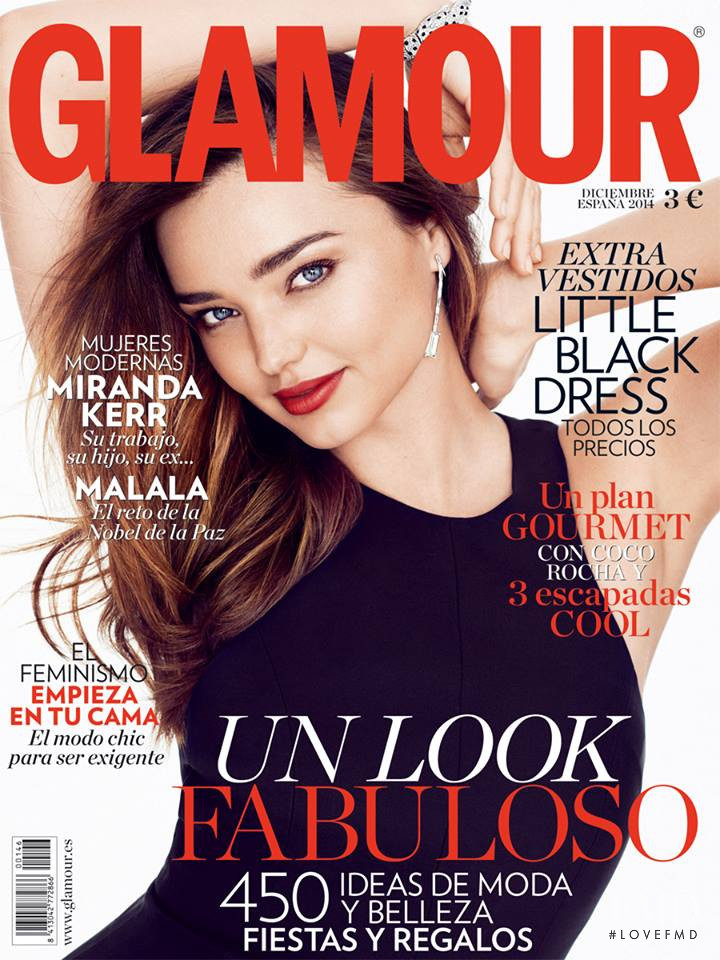 Miranda Kerr featured on the Glamour Spain cover from December 2014