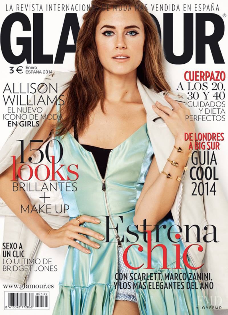 Allison Williams featured on the Glamour Spain cover from January 2014