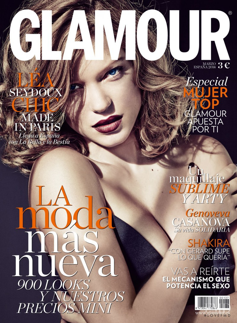 Léa Seydoux featured on the Glamour Spain cover from March 2014
