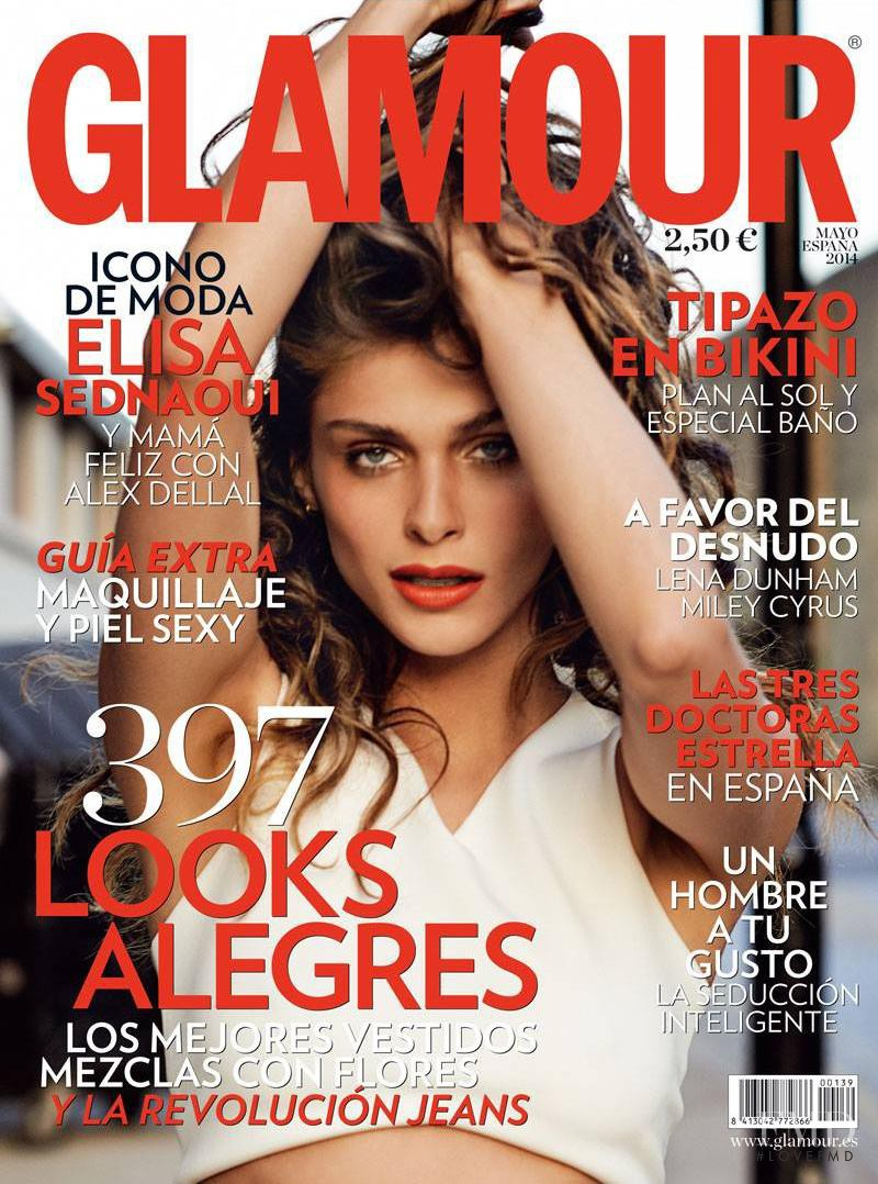 Elisa Sednaoui featured on the Glamour Spain cover from May 2014