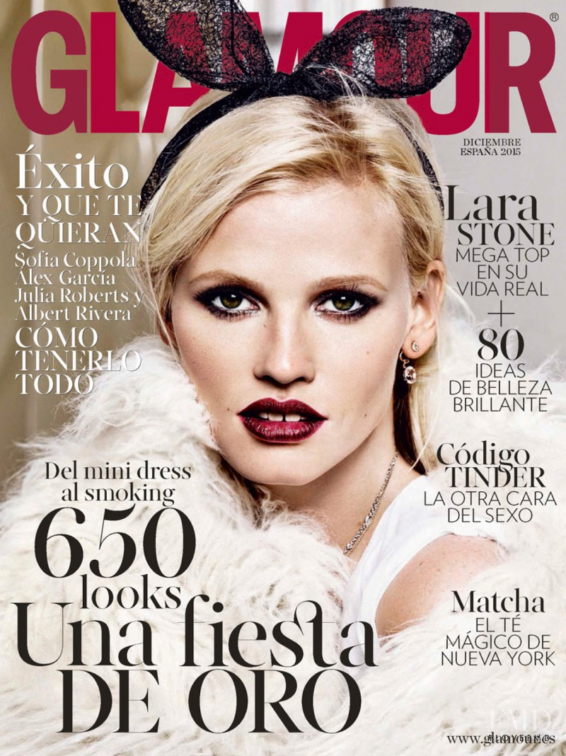 Lara Stone featured on the Glamour Spain cover from December 2015