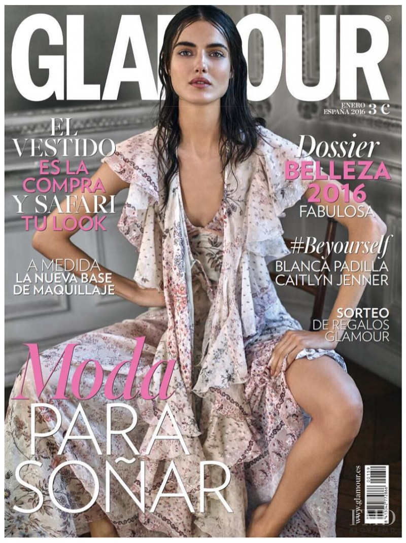 Blanca Padilla featured on the Glamour Spain cover from January 2016