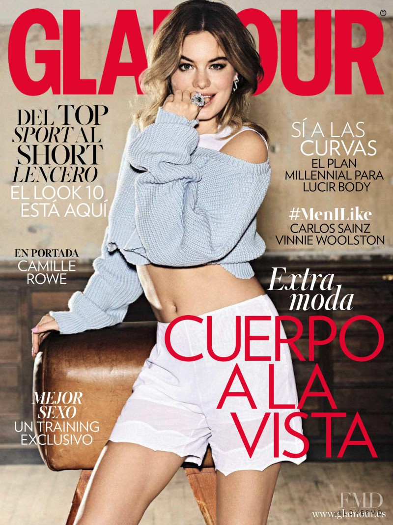 Camille Rowe featured on the Glamour Spain cover from May 2016
