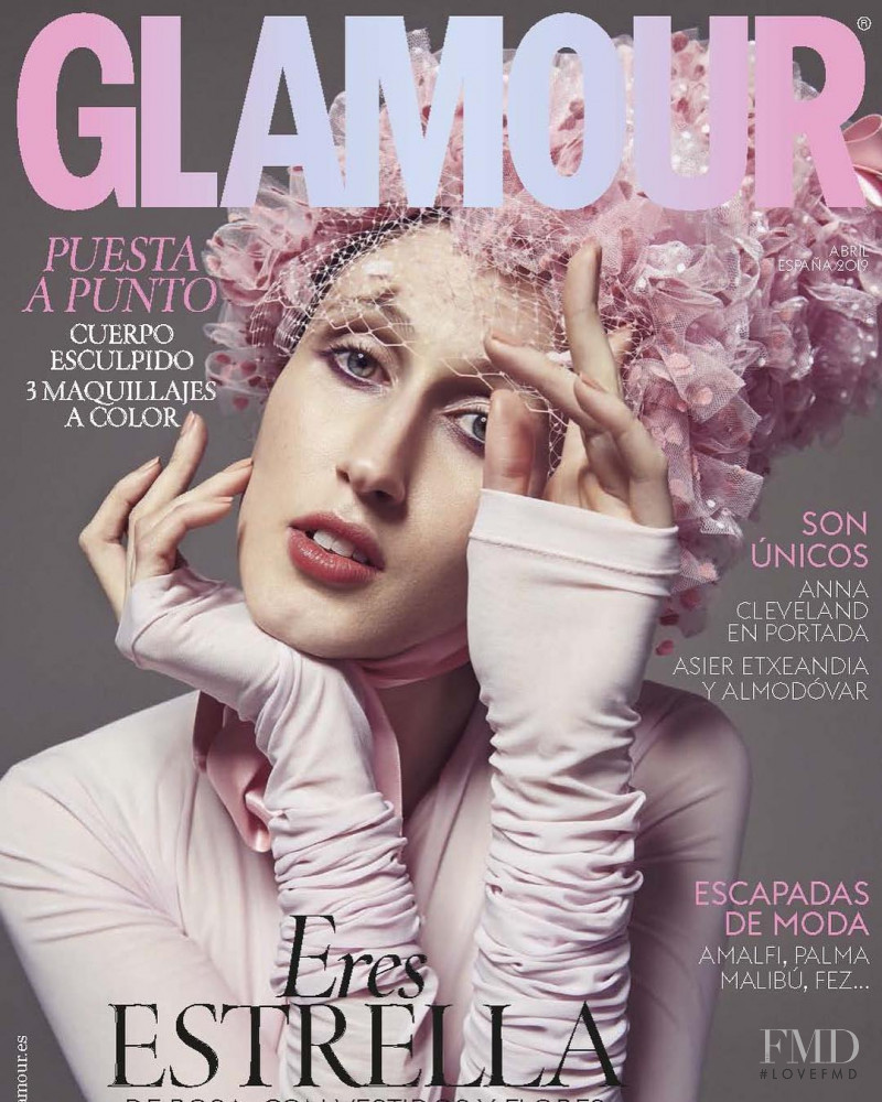 Anna Cleveland featured on the Glamour Spain cover from April 2019