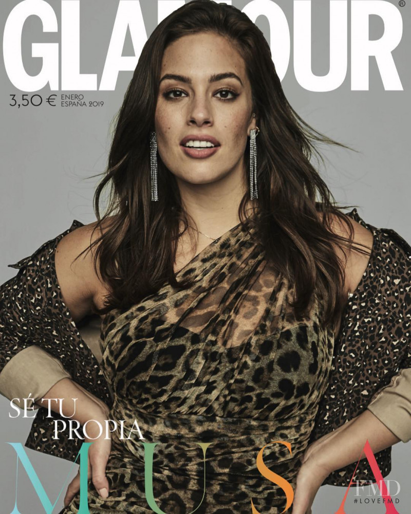 Ashley Graham featured on the Glamour Spain cover from January 2019