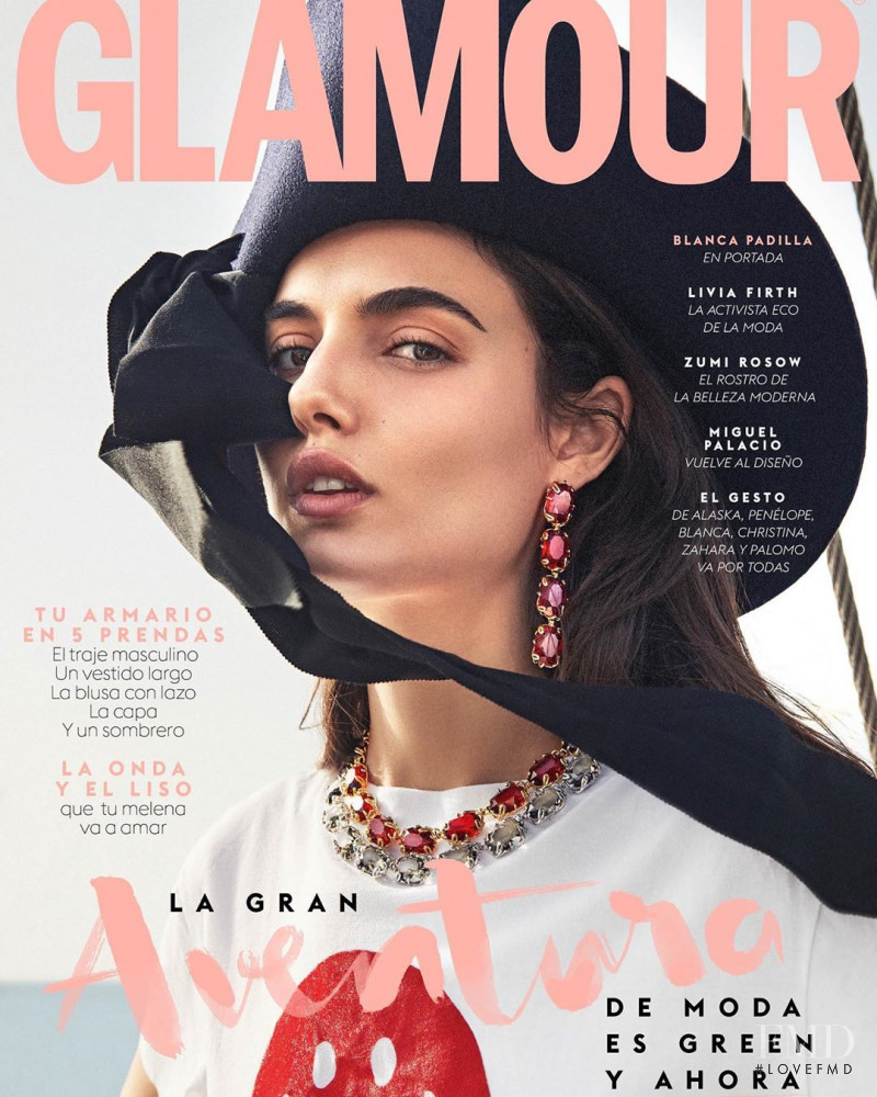 Blanca Padilla featured on the Glamour Spain cover from October 2019