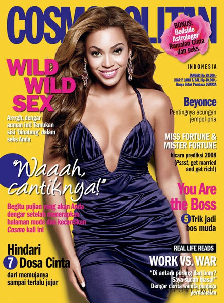 Beyoncé featured on the Cosmopolitan Indonesia cover from January 2008