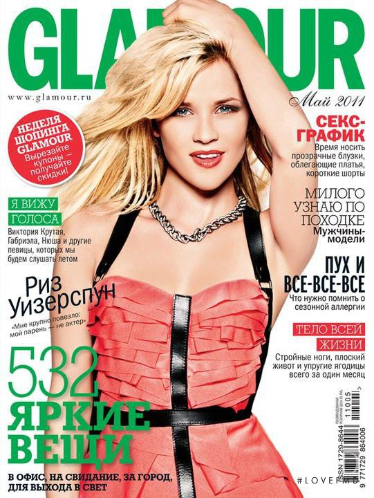 Reese Witherspoon featured on the Glamour Russia cover from May 2011