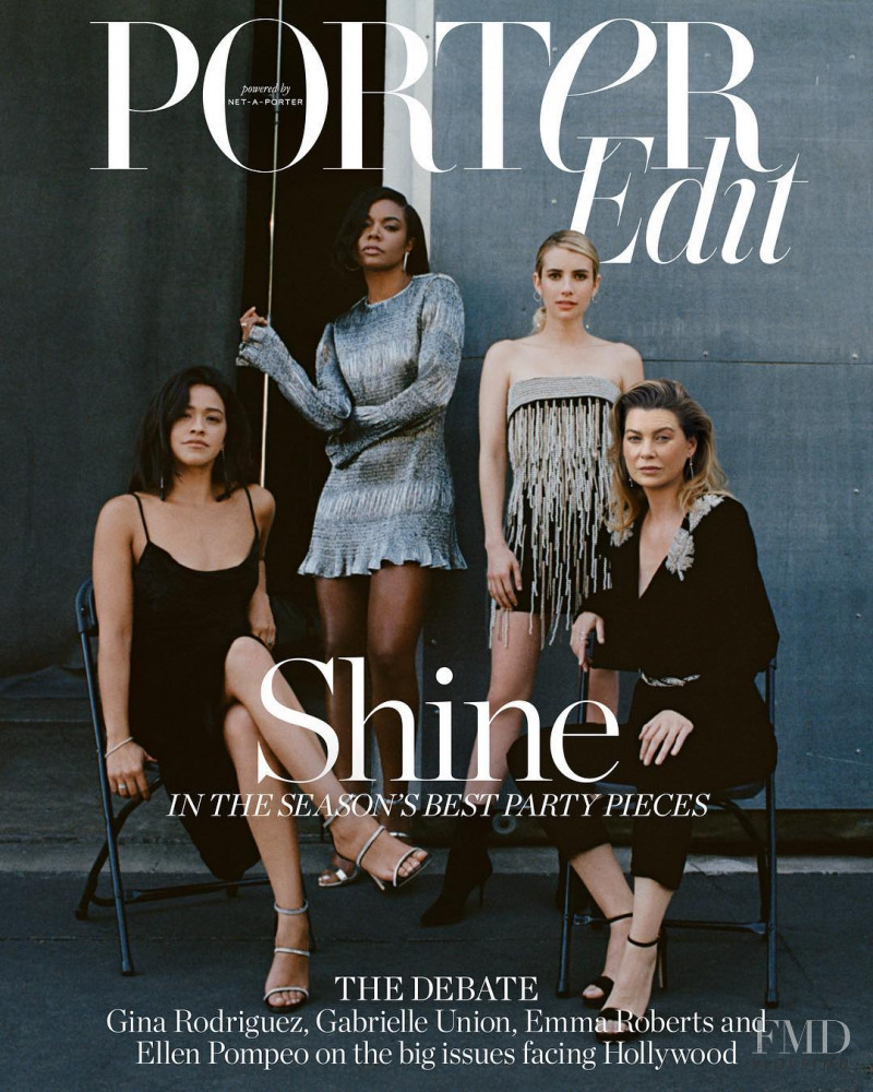 Gina Rodriguez, Gabrielle Union, Emma Roberts, Ellen Pompeo featured on the Net-A-Porter Magazine cover from November 2018
