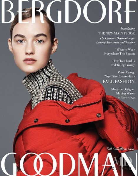 Maartje Verhoef featured on the Bergdorf Goodman Magazine cover from September 2016