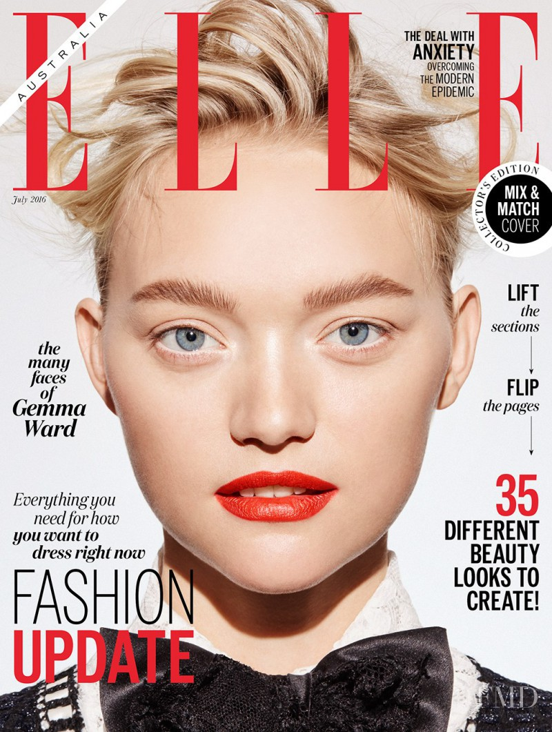 Gemma Ward featured on the Elle Australia cover from July 2016