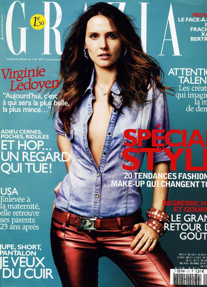 Virginie Ledoyen featured on the Grazia France cover from January 2011
