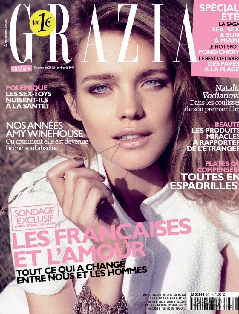 Natalia Vodianova featured on the Grazia France cover from July 2011