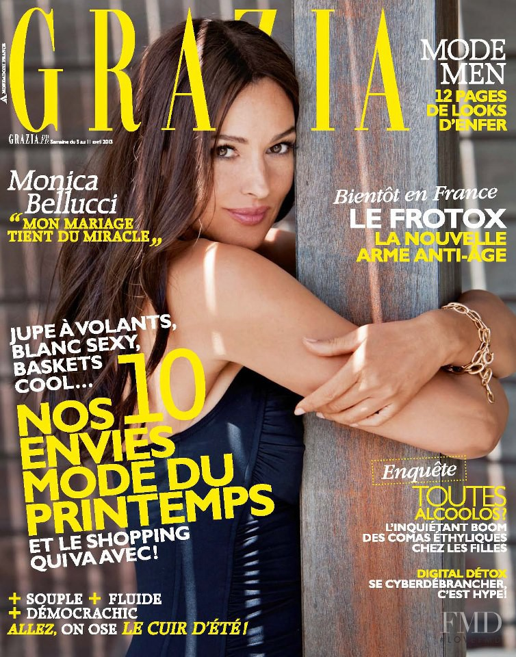 Monica Bellucci featured on the Grazia France cover from April 2013