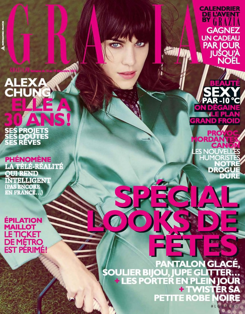 Alexa Chung featured on the Grazia France cover from December 2013