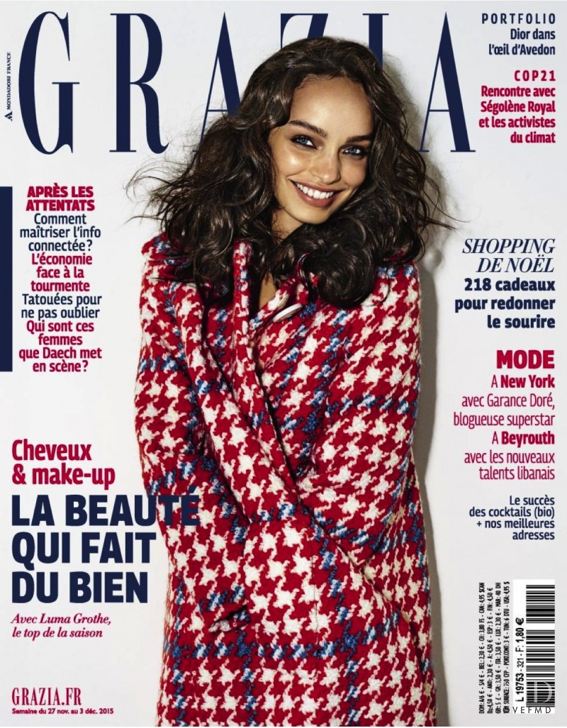 Luma Grothe featured on the Grazia France cover from November 2015