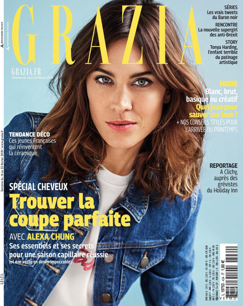 Alexa Chung featured on the Grazia France cover from February 2018