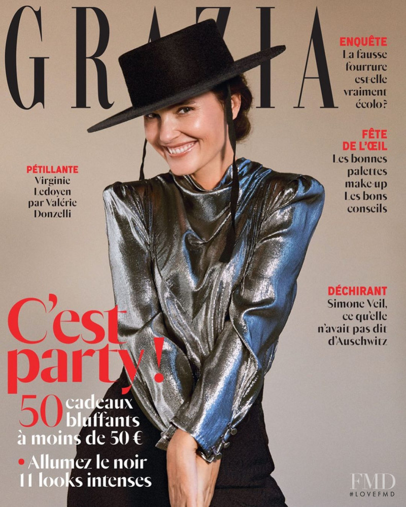 Virginie Ledoyen featured on the Grazia France cover from December 2019