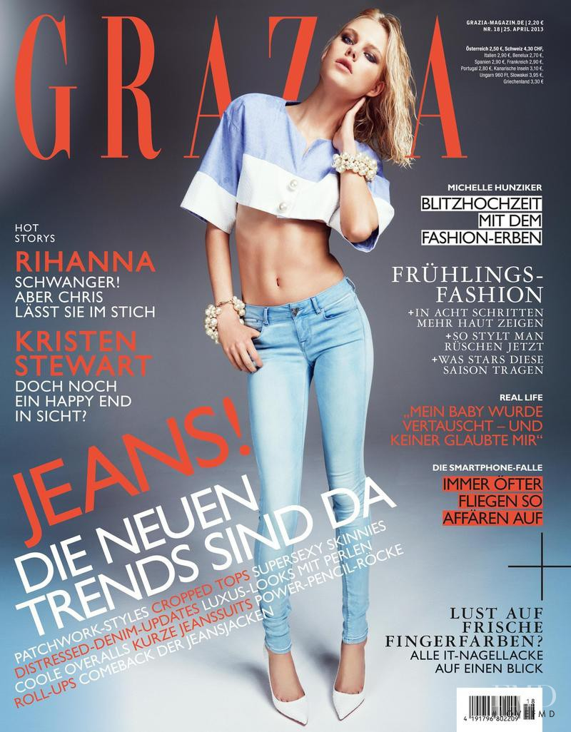 Julia Almendra featured on the Grazia Germany cover from April 2013