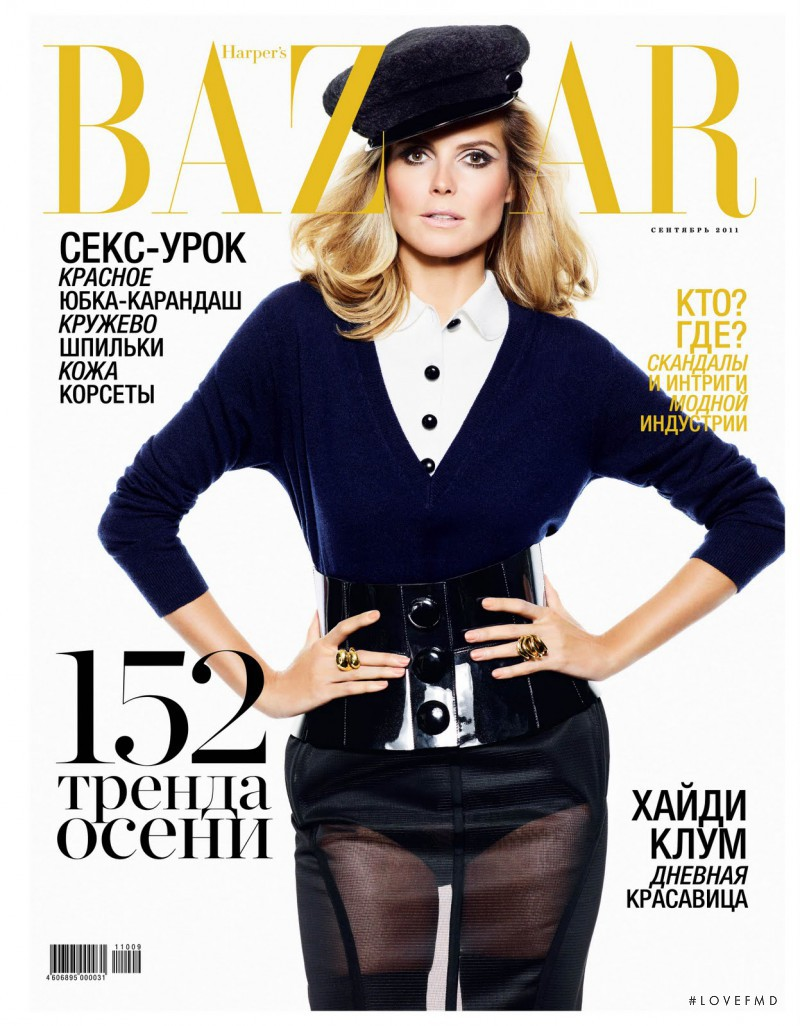 Heidi Klum featured on the Harper\'s Bazaar Russia cover from September 2011