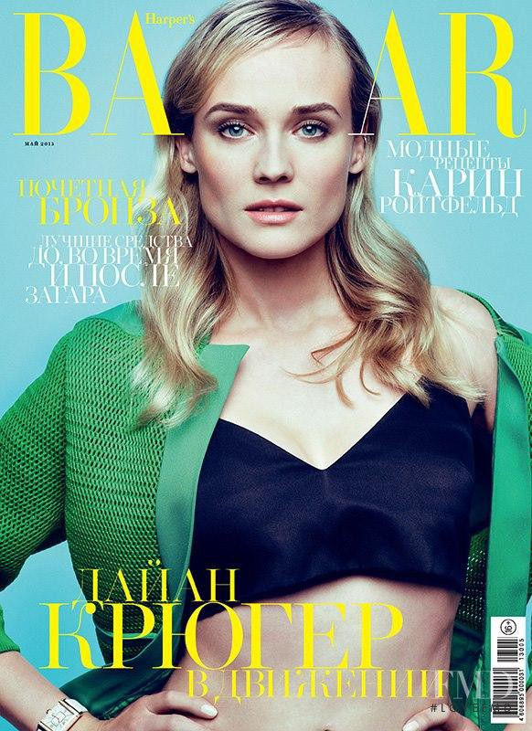 Diane Heidkruger featured on the Harper\'s Bazaar Russia cover from May 2013