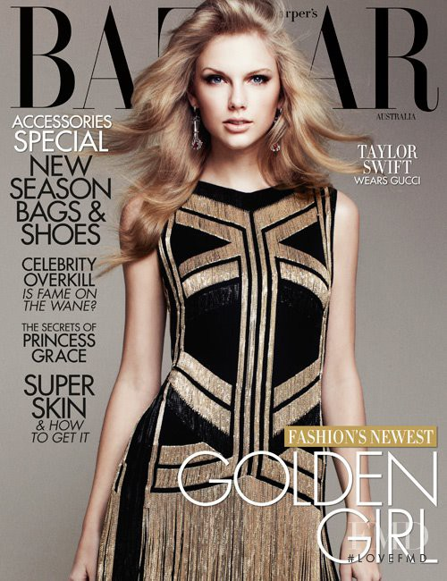 Taylor Swift featured on the Harper\'s Bazaar Australia cover from April 2012