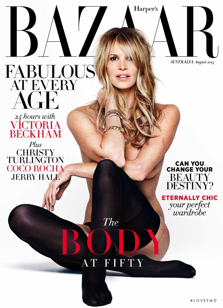 Elle Macpherson featured on the Harper\'s Bazaar Australia cover from August 2013