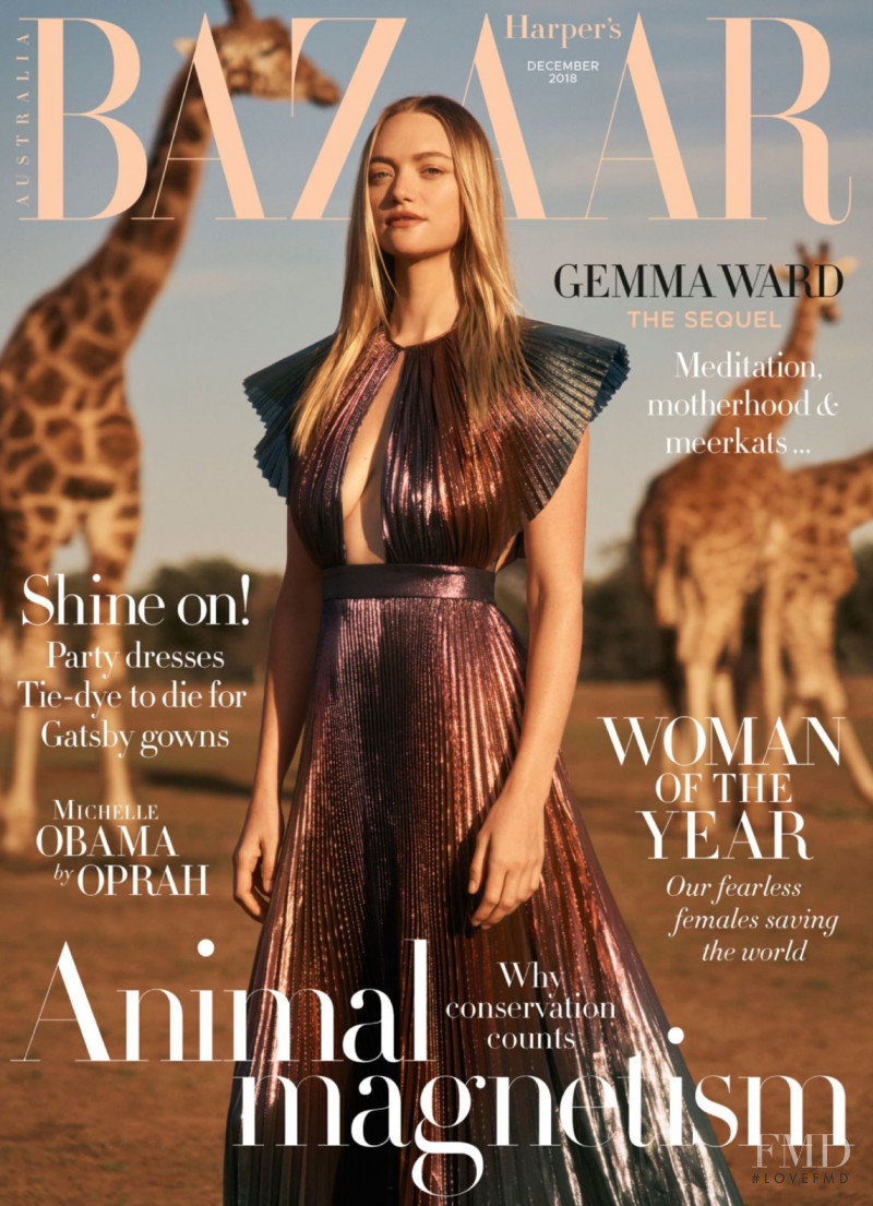 Gemma Ward featured on the Harper\'s Bazaar Australia cover from December 2018