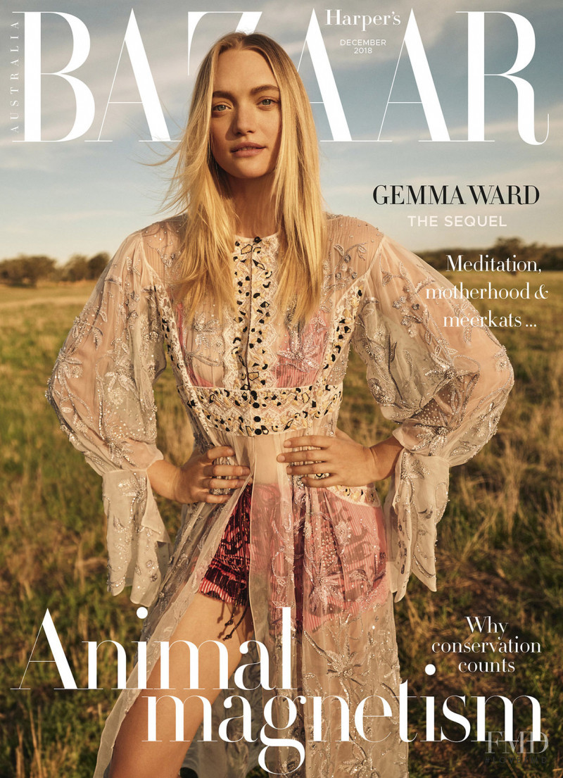 Gemma Ward featured on the Harper\'s Bazaar Australia cover from December 2018