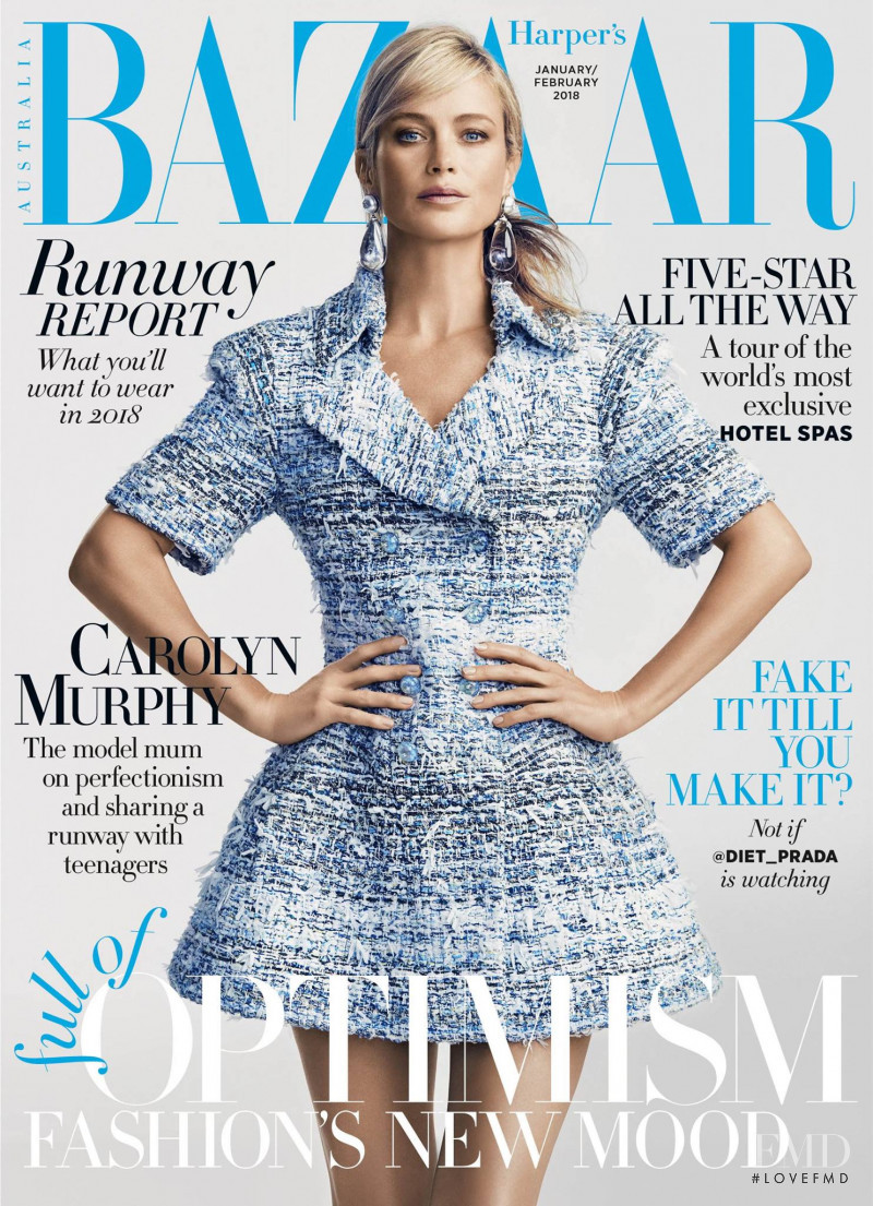 Carolyn Murphy featured on the Harper\'s Bazaar Australia cover from January 2018