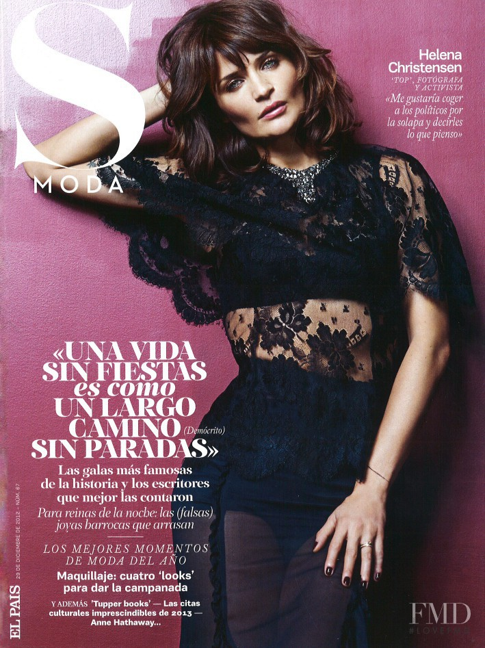 Helena Christensen featured on the S Moda cover from December 2012
