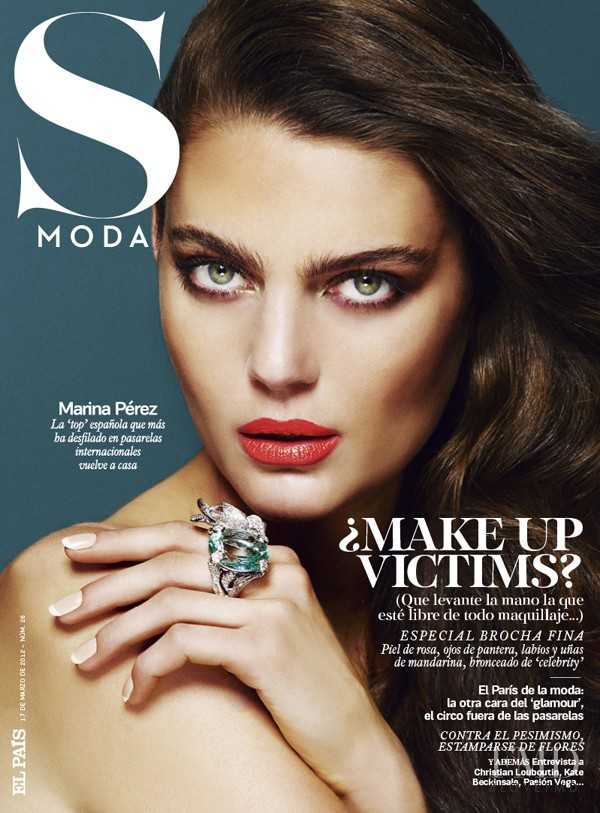 Marina Pérez featured on the S Moda cover from March 2012