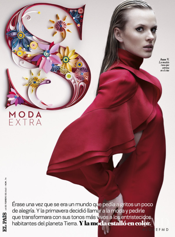 Anne Vyalitsyna featured on the S Moda cover from February 2013
