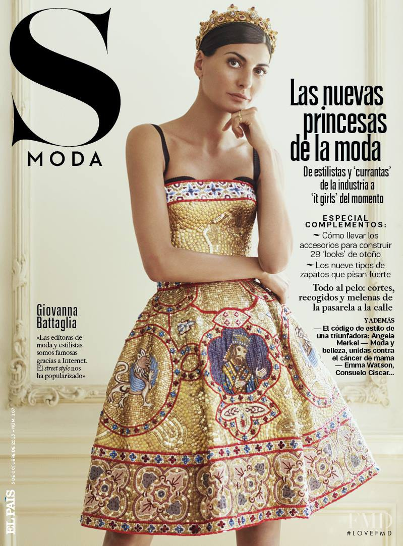 Giovanna Battaglia featured on the S Moda cover from October 2013