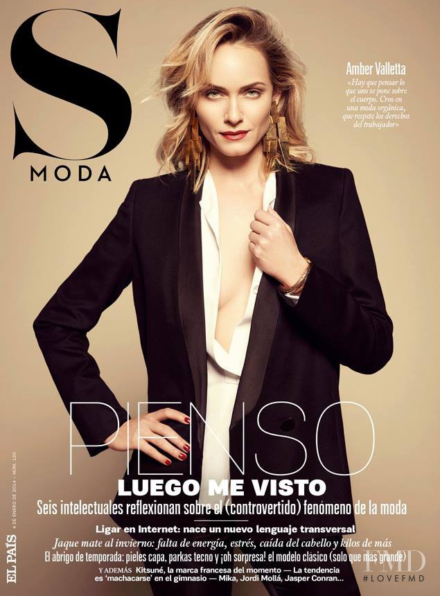 Amber Valletta featured on the S Moda cover from January 2014