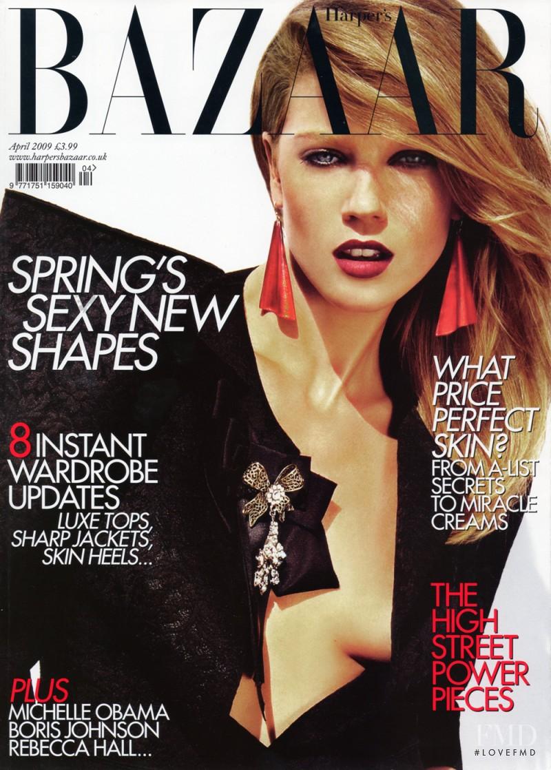 Masha Novoselova featured on the Harper\'s Bazaar UK cover from April 2009