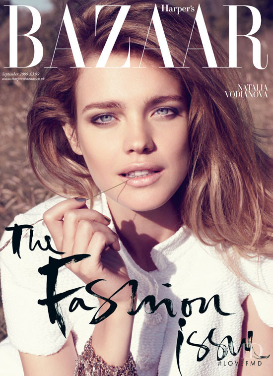Natalia Vodianova featured on the Harper\'s Bazaar UK cover from September 2009