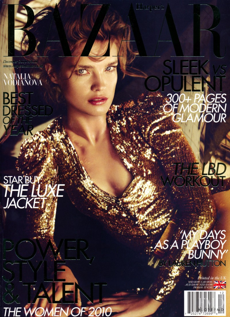 Natalia Vodianova featured on the Harper\'s Bazaar UK cover from December 2010