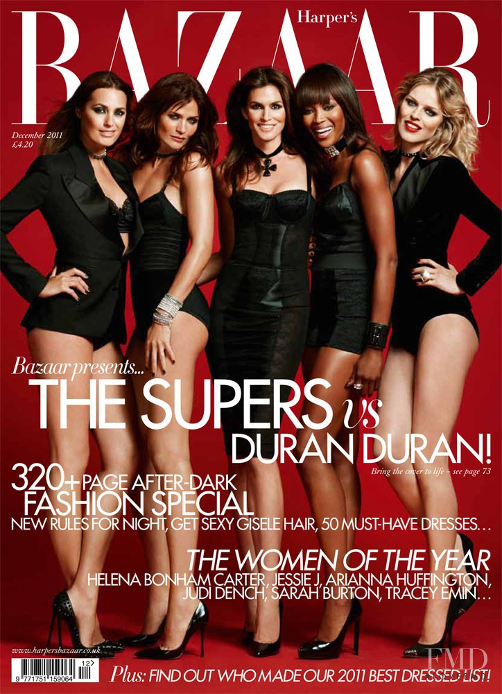 Cindy Crawford, Eva Herzigova, Helena Christensen, Naomi Campbell, Yasmin Le Bon featured on the Harper\'s Bazaar UK cover from December 2011