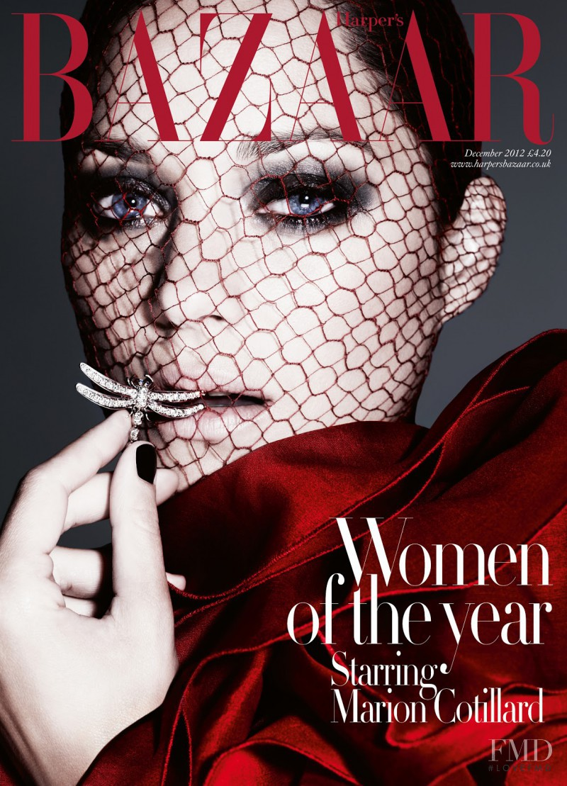 Marion Cotillard  featured on the Harper\'s Bazaar UK cover from December 2012