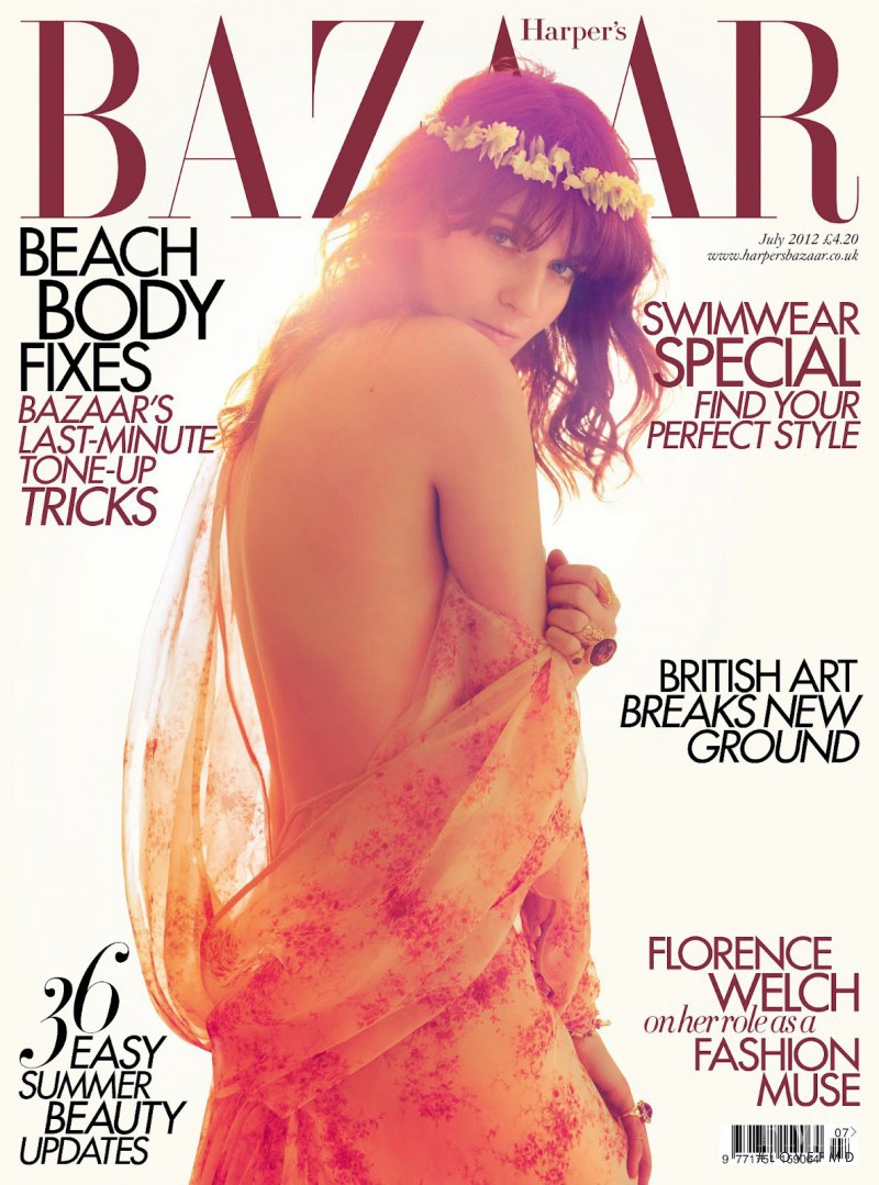Florence Welch featured on the Harper\'s Bazaar UK cover from July 2012