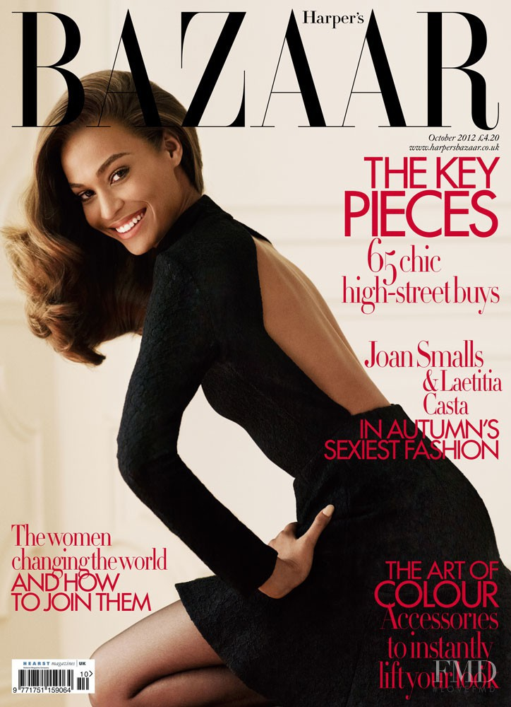 Joan Smalls featured on the Harper\'s Bazaar UK cover from October 2012
