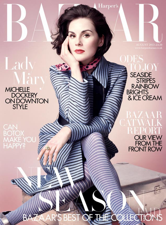 Michelle Dockery featured on the Harper\'s Bazaar UK cover from August 2013