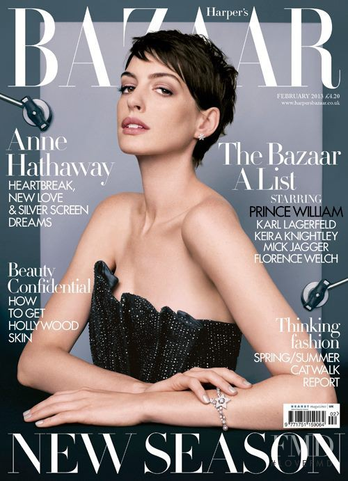 Anne Hathaway featured on the Harper\'s Bazaar UK cover from February 2013