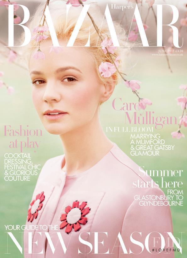 Carey Mulligan featured on the Harper\'s Bazaar UK cover from June 2013