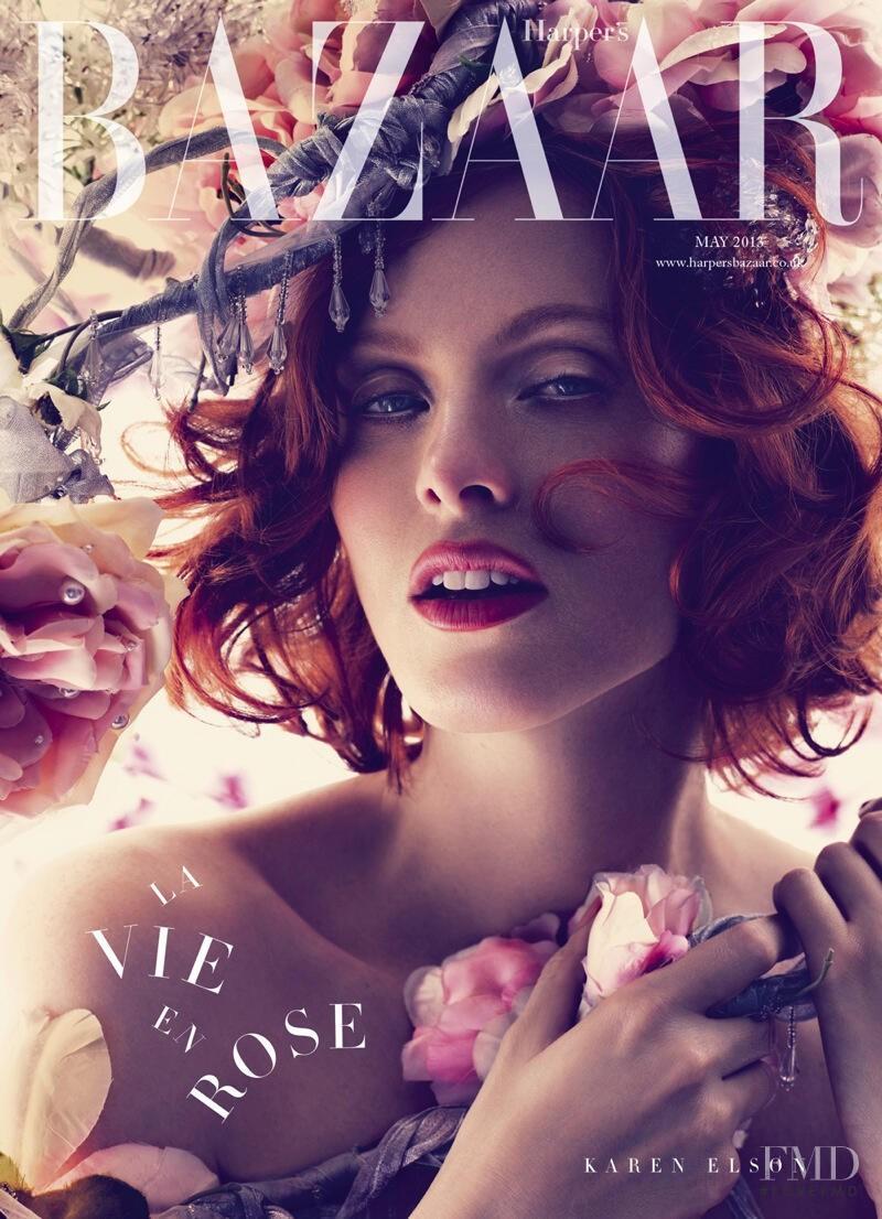 Karen Elson featured on the Harper\'s Bazaar UK cover from May 2013