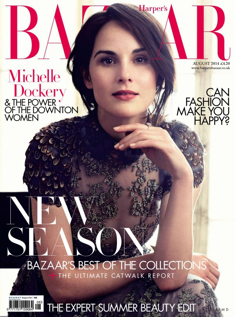 Michelle Dockery & The Women of Downton featured on the Harper\'s Bazaar UK cover from August 2014
